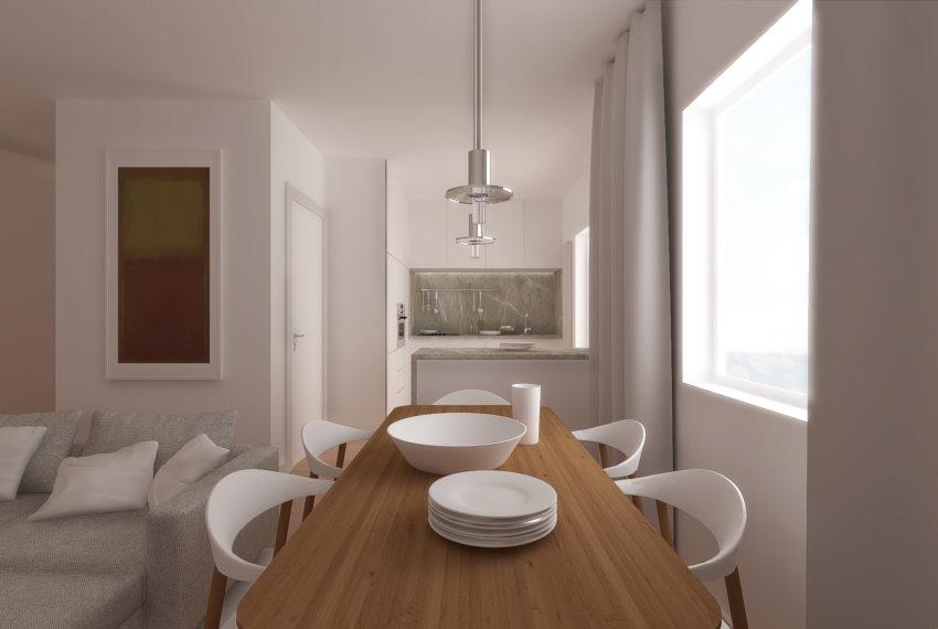 Vista a sala para  a cozinha
